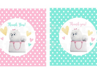 Instant Download Gidget, favor tags, thank you tags, sheet, tags, Kid's Birthday Party Invite Birthday Invitation