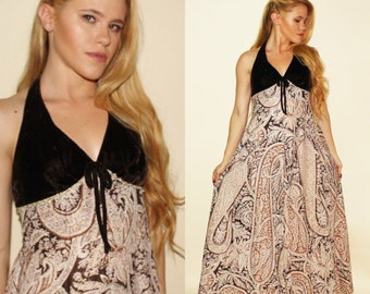 Vintage 70s Brown Velvet Maxi Halter Paisley Gypsy Boho Party Dress XS