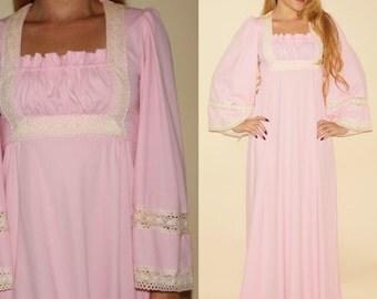 Vintage 70s Pink Crochet Bohemian Dress Ruffled Maxi Boho Prairie Festival 1970s Empire Waist Angel Sleeve Long Pastel Retro Small