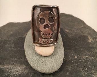 Sterling Silver Amor Skull Ring
