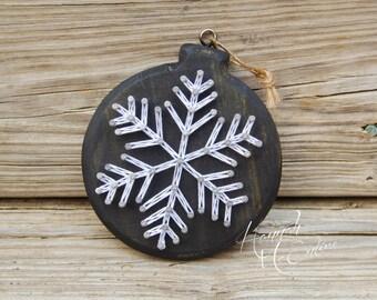 Snowflake Christmas Ornament String Art, Handmade Christmas Ornament, Wood Christmas Ornament, Christmas Tree Decorations