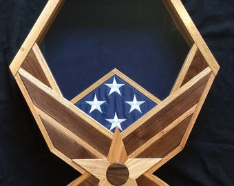 Handcrafted Air Force Shadow Box - Oak & Black Walnut - the PERFECT retirement gift!