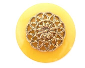 Large Yellow Art Deco Celluloid Filigree Metal Button Metal Shank