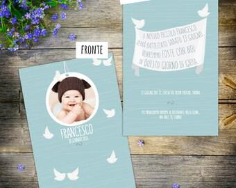 photo baptism invitation, birds baptism invite, custom and printable baby invite, bautismo,enfant baptême, baby invitations, birds