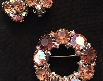 Weiss Crystal Rhinestone Brooch / Pin & Earring Set
