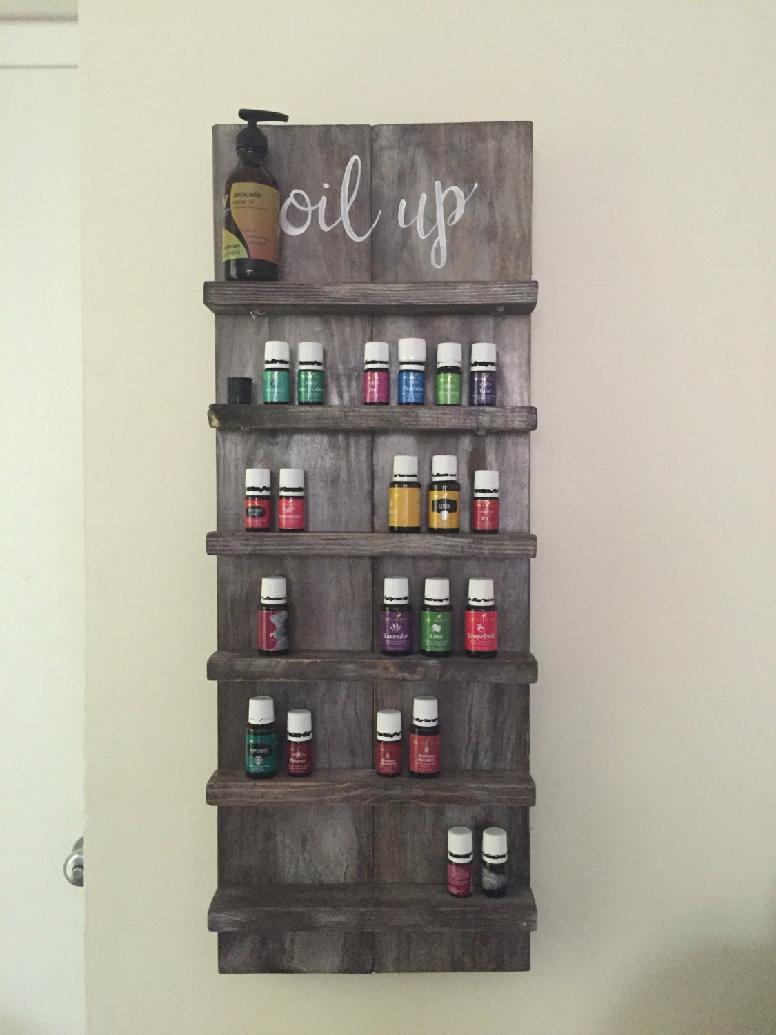 Essential Oil Storage Shelf Distressed Wood Hand Made