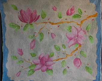 Wool home decor, magnolia, handpainted silk, Felted art fabric, batik for Craft,  SJR,  nuno felted fabric