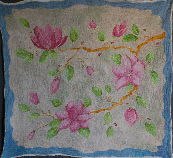 Wool Home Decor Magnolia Handpainted Silk Felted Art Fabric Batik For Craft Sjr Nuno