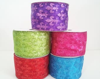 "2 1/2"" Wired Fleur-de-lis Organza Ribbon - 10 Yards"