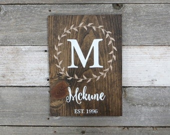 "Personalized Rustic Hand Painted Wood Sign, Family Name Sign, Monogram Sign, Established Date Sign, Last Name Sign - 13""x9.25"""