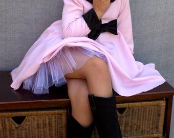Girls fall dress, Pink and black dress, Peter pan collar dress, Long sleeve dress, Winter dress, Pink twirly dress, Girls buttoned dress