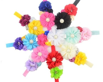 Fashion Charm Chiffon Flower with Rhinestone Headband , Flower with Pearl Headband -- YTK50