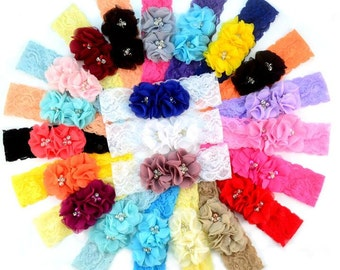 Fashion Beauty Chiffon Flower with Rhinestone Lace Headband , Soft Headband , Smooth Headband  -- YTK51