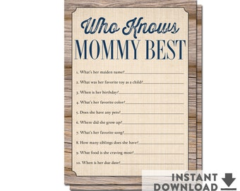 Who Knows Mommy Best Game Wood Farm Rustic Baby Shower Games Boy Printable // INSTANT DOWNLOAD No.709NAVY