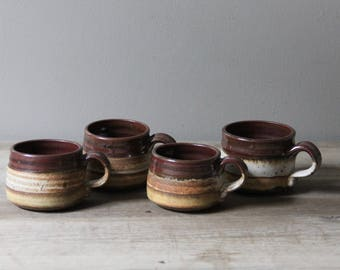 Set of 4 handmade stoneware mugs | vintage studio pottery