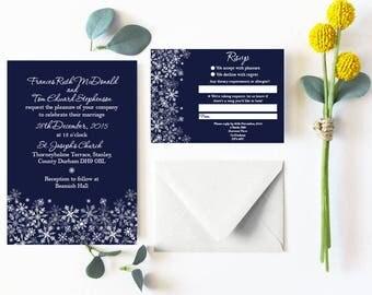 Winter - Snowflake- Wedding Invitation Set - Invitation, RSVP and Bellyband - Personalised