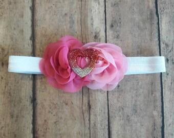Chiffon heart headband.