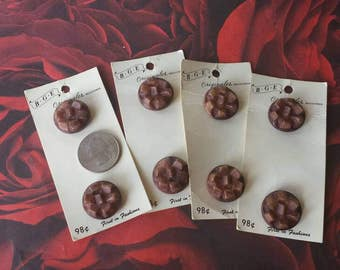 Vintage 1970s era buttons on 4 cards, 8 buttons. Sweater buttons, jacket buttons, craft buttons, brown buttons. BGE originals. Tempt Team.