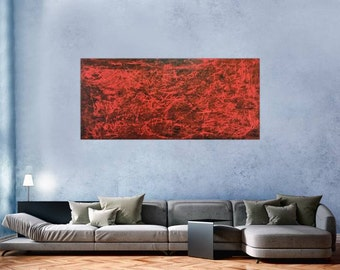 Modern abstract artwork in XXL by Alexander Zerr acrylic on canvas 80x180cm #305