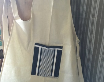 French Vintage Metis and Ticking Fabric Apron