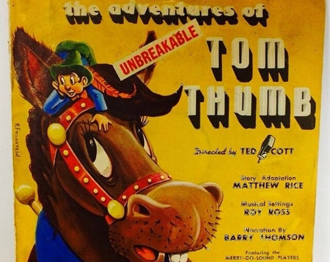 Storewide 25% Off SALE Rare Collectible Merry-Go-Sound Records Children's Record Set, The Adventures of Tom Thumb, Directed by Ted Cott, #T-