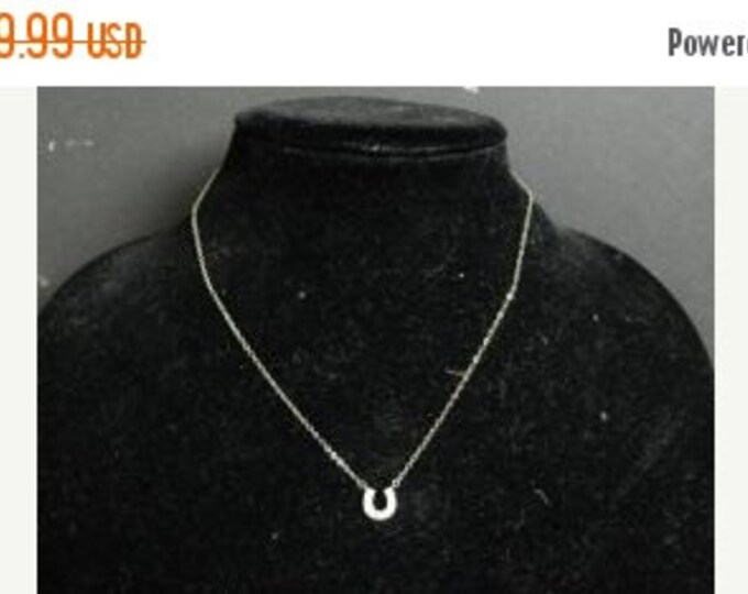 Storewide 25% Off SALE Vintage Sterling Silver Flat Link Cable Chain Necklace Featuring Gemstone Encrusted Lucky Horseshoe Pendant