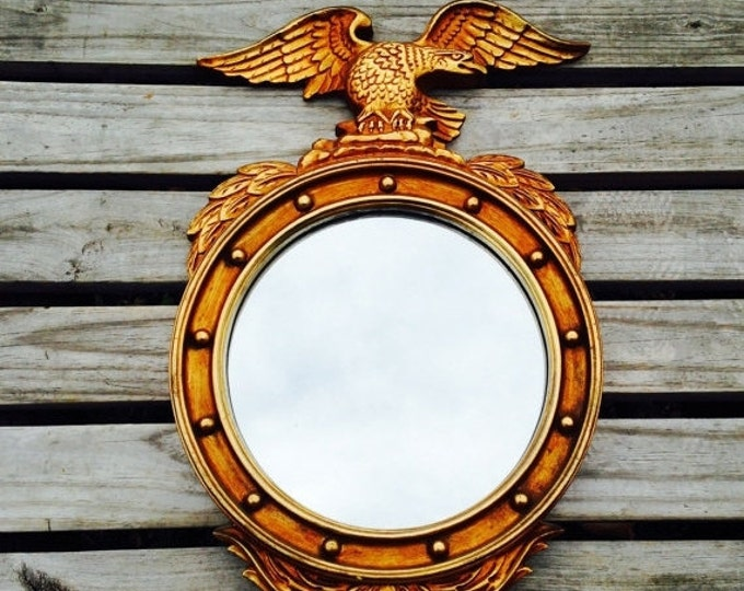 Storewide 25% Off SALE Vintage Gold Tone Colonial Federal Bullseye Style Convex Mounted Wall Mirror Featuring Iconic American Eagle Design
