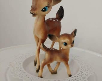 Vintage kitsch deer mummy and baby pair woodland bambi