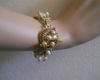 Link Bracelet, Faux Pearls, Gold Tone, Fashion Bracelet