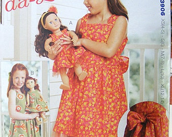 "2011~Kwik Sew Made To match~18"" Doll Dress & Girl's pattern~3906~sizes ~All Sizes~XS~S~M~L~XL~Headbands~Tulle-da-Lu~Dresses~Dolls"