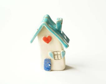 Miniature Ceramic House, Housewarming Cake Topper, Little House, Home Decor