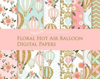 Floral Hot Air Balloon / Gold Hot Air Balloon Digital Paper Pack - Instant Download - DP156