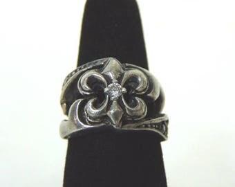 Womens Vintage Estate .925 Sterling Silver Fleur Des Lis Ring w/ Crystal 9.5g E3142