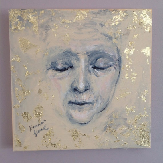 "Serenity Series ""Heart of Peace"". Original Acrylic Gold Leaf Painting 12 by 12 square wall art old woman face"