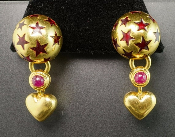 Ponte Vecchio 18K Yellow Gold Heart Dangle Ruby Cabochon Enamel Star Earrings