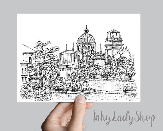 Wall Art Italy Print Hand Drawn Sketch Of Verona City In Pen