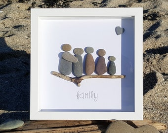 Family of 5 - Cornish Pebble Art Picture