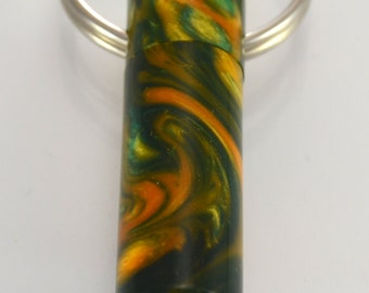 LDS Oil Vial made out of Green and Yellow swirl Acrylic