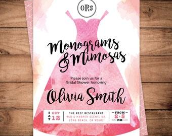 Monograms and Mimosas Bridal Shower invitation watercolor weddingdress