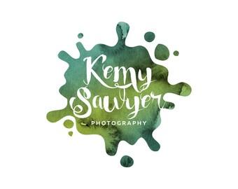 premade logo design · watercolor · ink logo · blot logo · photography logo · premade branding · small business logo