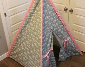 Toddler Teepee - Play Tent - Grey u0026 White Arrow Canvas with pink pole sleeves and & Tent pole sleeve | Etsy