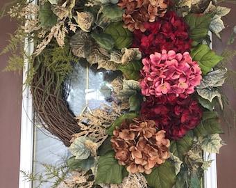 Front Door Wreath, Summer Wreath, Spring Wreath, Hydrangea Wreath, Grapevine Wreath