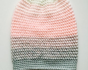 Crochet Slouchy Hat | White, Pink, Light Grey Ombre | iHat v5.0