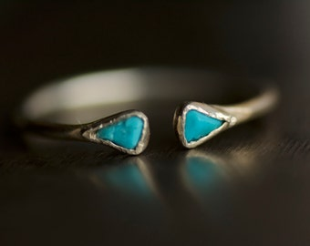 Tiny Minimalist Open Front Silver Turquoise Ring. Turquoise Ring. Tiny Ring. Minimalist Ring. Raw Turquoise Ring. Sleeping Beauty Turquoise.