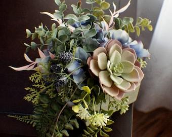 Succulent flower arrangement, Silk Flower Arrangment, Hydrangea, Succulent Every Day Floral, Table Centerpiece, Bathroom Decor Bedroom Decor