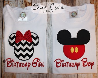 Minnie and Mickey Birthday Shirts ~ Birthday Girl ~ Birthday Boy