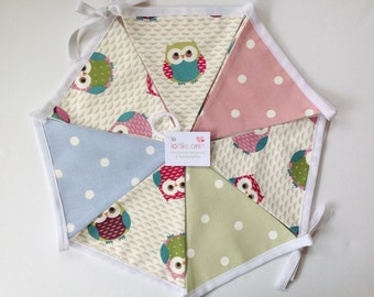 Owls Bunting, Dotty Bunting, Fabric Bunting, Lined Bunting, Decoration