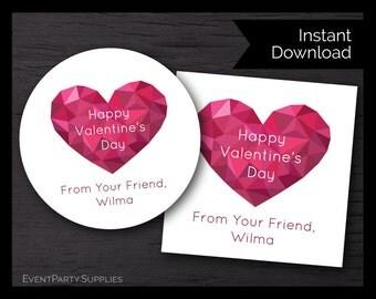 Valentine Pink Heart Favor Tag, Valentine's Treat Bag, Instant Download, Editable
