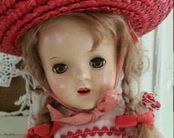 Vintage Composition Doll with Red Straw Hat and Braids, Antique Composition Doll wtih Teeth