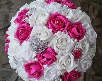 Foam rose brooch bouquet,  available most colours